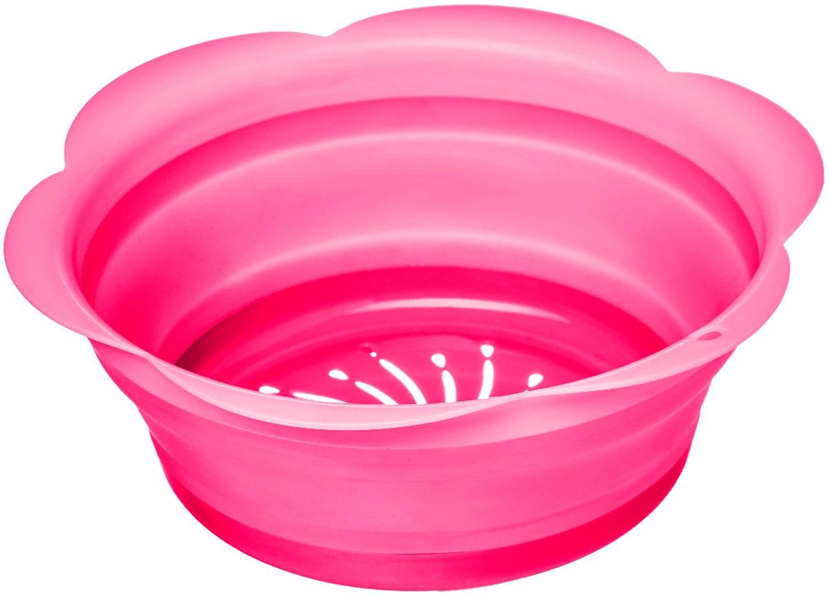 Дуршлаг Walmer Rainbow, складной, цвет: малиновый, диаметр 22 смW26030222Дуршлаг Walmer Rainbow изготовлен из качественного пищевого силикона с пластиковыми деталями, с помощью которых он держит форму. Благодаря гибкости материала, дуршлаг легко складывается и занимает минимум места при хранении. В таком дуршлаге удобно промывать ягоды, фрукты, овощи, а также процеживать макароны. Дуршлаг является необходимым аксессуаром для каждой кухни. Он станет полезным и практичным приобретением.Диаметр (по верхнему краю): 22 см.Высота стенки: 8,5 см.