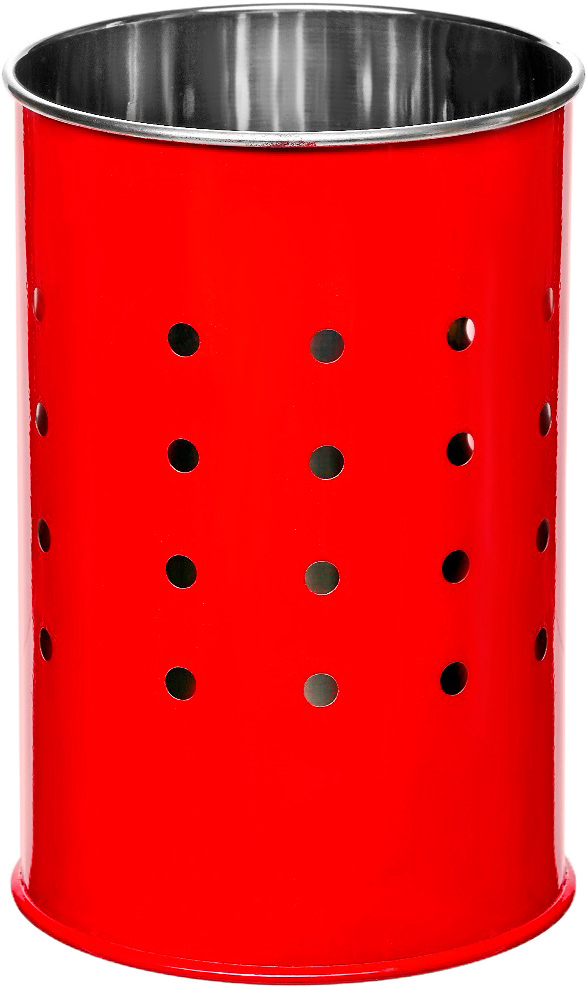 Подставка для столовых приборов Walmer Holly, цвет: красный, серый, 10 х 10 х 15 смW26050215Подставка для столовых приборов Walmer Holly выполнена из нержавеющей стали с перфорацией. Подходит для размещения ложек, вилок, ножей и предметов кухонной утвари. Изделие для столовых приборов выполнено в оригинальном дизайне, оно не займет много места, а столовые приборы будут всегда под рукой. Диаметр поставки: 10 см. Высота подставки: 15 см.
