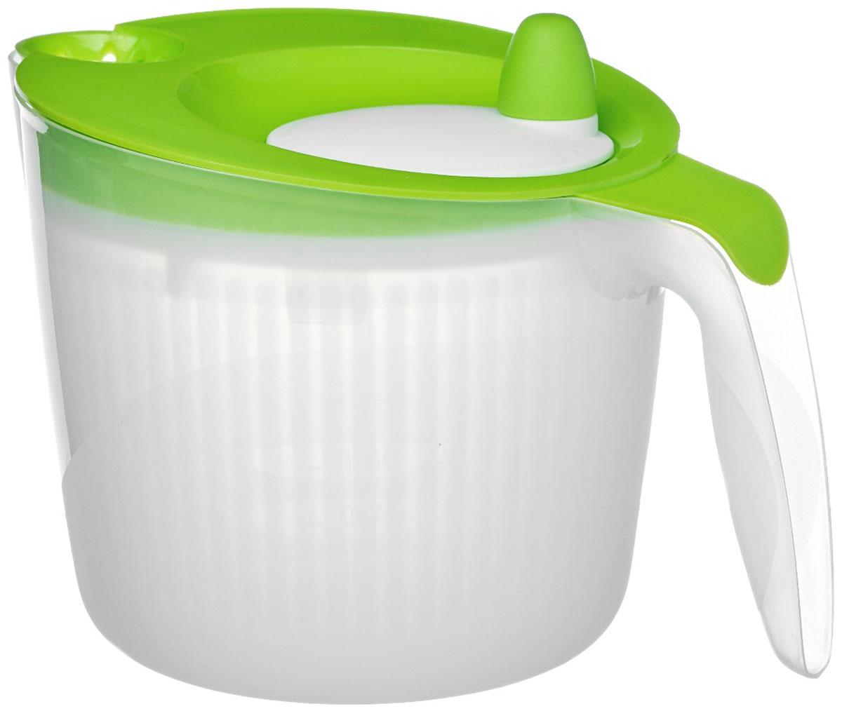 Сушилка для салата Walmer Rainbow, цвет: салатовый, 1,8 лW26010018_салатовыйСушилка для салата Walmer Rainbow - незаменимая вещь на кухне. Обсушивать в ней можно, конечно же, не только салат, но любую зелень: петрушку, укроп, перья лука, рукколу. Объем сушилки - 1,8 литра, а значит, вы сможете высушить за раз большой пучок зелени. Внутри сушилки находится вращающаяся сетчатая емкость. На крышке - ручка, которая эту емкость раскручивает. Положите зелень в сушилку, закройте крышку и прокрутите несколько раз ручку. Центрифуга внутри раскрутится и буквально стряхнет всю влагу с зелени.Сушилка для салата Walmer Rainbow непременно понравится каждой хозяйке.