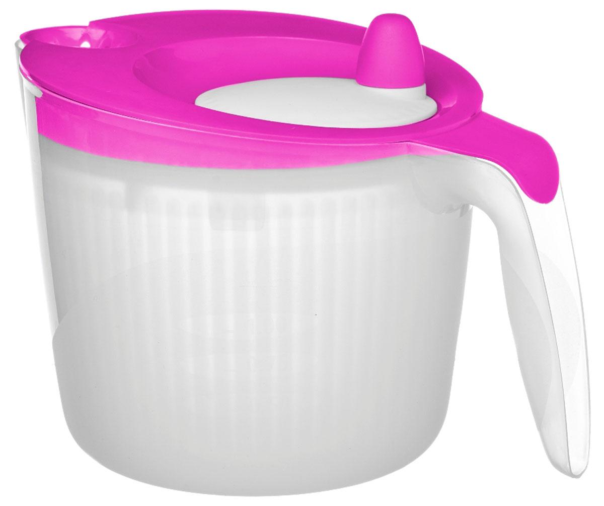 Сушилка для салата Walmer Rainbow, цвет: малиновый, 1,8 лW26010018_малиновыйСушилка для салата Walmer Rainbow - незаменимая вещь на кухне. Обсушивать в ней можно, конечно же, не только салат, но любую зелень: петрушку, укроп, перья лука, рукколу. Объем сушилки - 1,8 литра, а значит, вы сможете высушить за раз большой пучок зелени. Внутри сушилки находится вращающаяся сетчатая емкость. На крышке - ручка, которая эту емкость раскручивает. Положите зелень в сушилку, закройте крышку и прокрутите несколько раз ручку. Центрифуга внутри раскрутится и буквально стряхнет всю влагу с зелени.Сушилка для салата Walmer Rainbow непременно понравится каждой хозяйке.