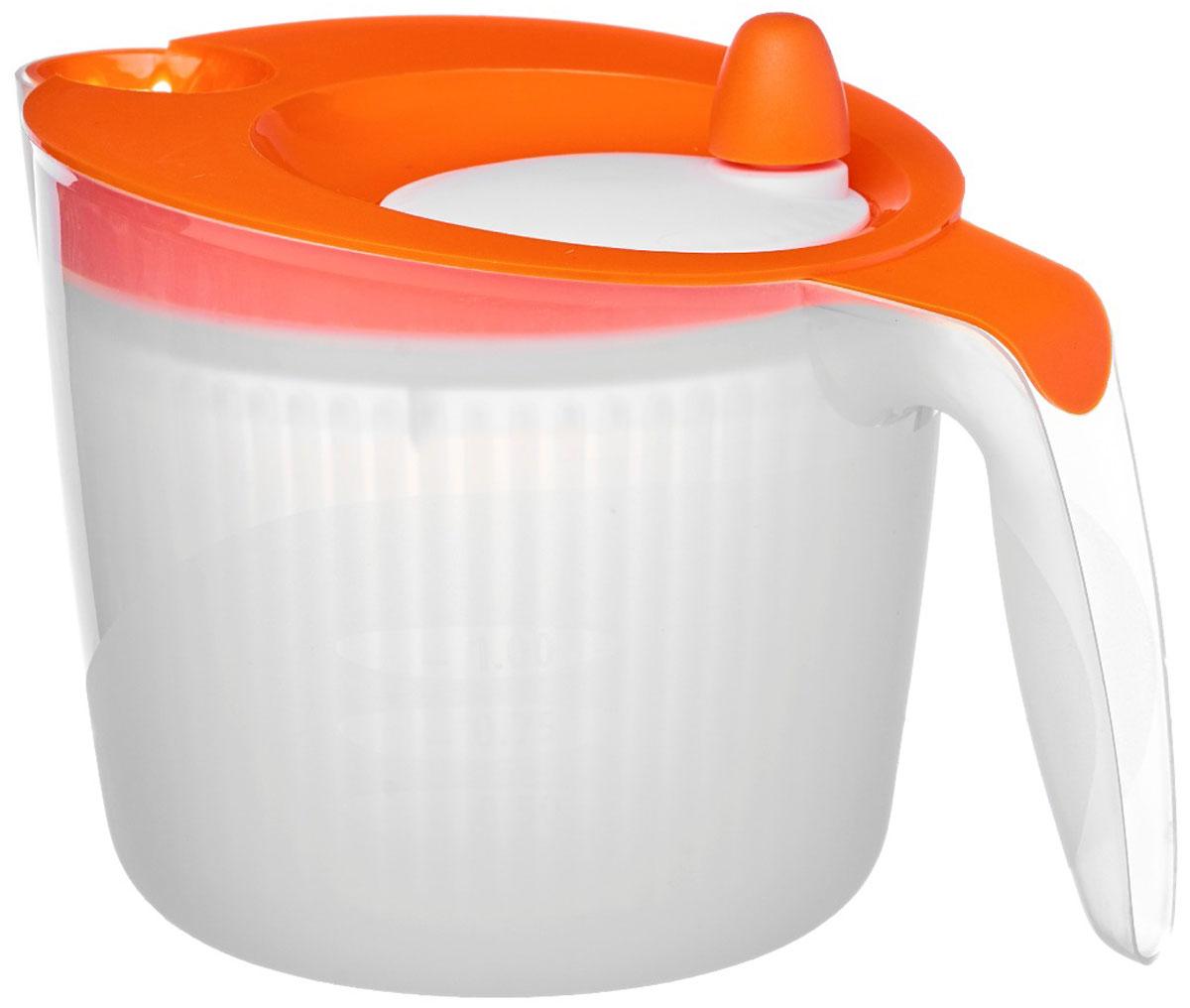 Сушилка для салата Walmer Rainbow, цвет: оранжевый, 1,8 лW26010018_оранжевыйСушилка для салата Walmer Rainbow - незаменимая вещь на кухне. Обсушивать в ней можно, конечно же, не только салат, но любую зелень: петрушку, укроп, перья лука, рукколу. Объем сушилки - 1,8 литра, а значит, вы сможете высушить за раз большой пучок зелени. Внутри сушилки находится вращающаяся сетчатая емкость. На крышке - ручка, которая эту емкость раскручивает. Положите зелень в сушилку, закройте крышку и прокрутите несколько раз ручку. Центрифуга внутри раскрутится и буквально стряхнет всю влагу с зелени.Сушилка для салата Walmer Rainbow непременно понравится каждой хозяйке.