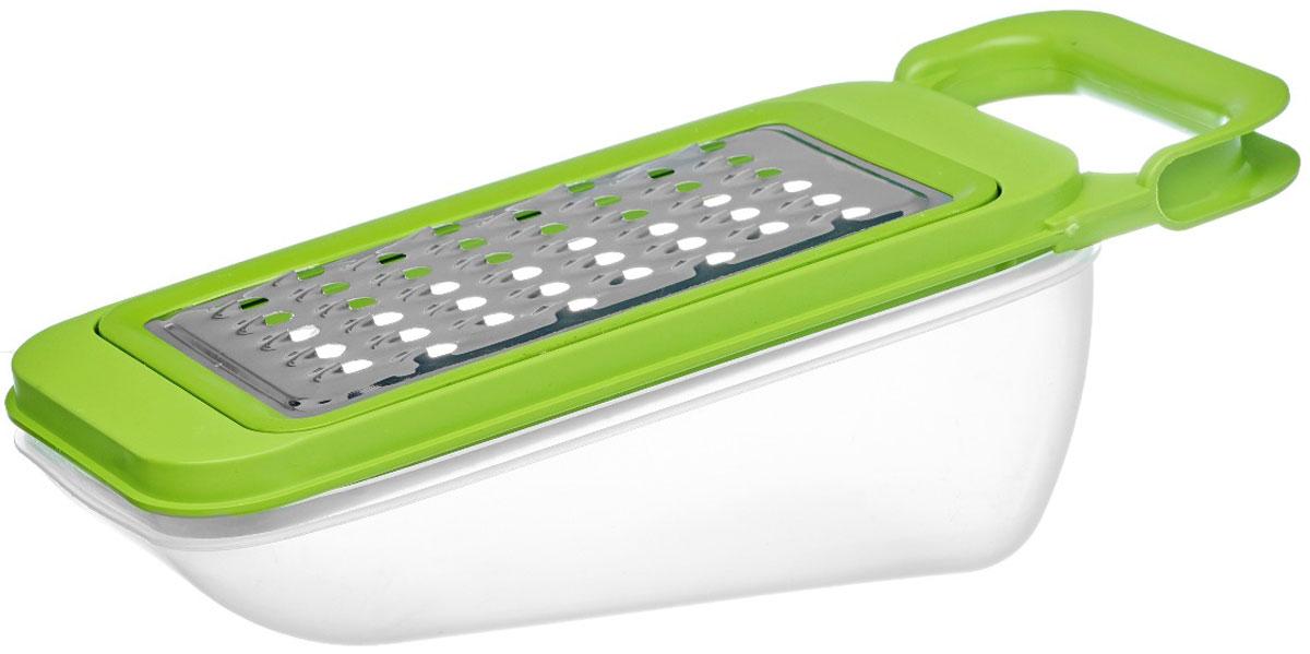 Терка Walmer Rainbow, с контейнером, цвет: салатовый, серый, 26 х 10,2 х 10,5 смW26020026_салатовый, серыйТерка Walmer Rainbow изготовлена из высококачественной стали и пластика. Она непременнопонравится каждой хозяйке. Терка оснащена контейнером, который делает ее значительноудобней. Все, что вы натираете, попадает в контейнер: ни крошки не просыпается вокруг. Ручкапозволяет удобно взяться за нее и зафиксировать терку на столе, когда вы готовите. Для того,чтобы терку было удобно мыть, режущая поверхность снимается. Размер терки (с контейнером): 26 х 10,2 х 10,5 см.