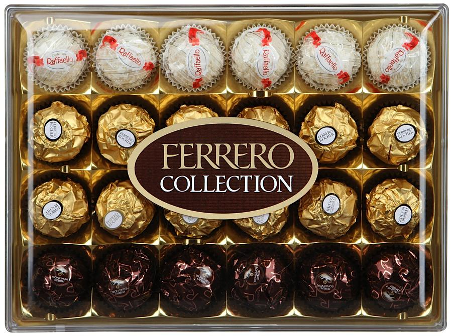 Ferrero Collection набор конфет: Raffaello, Ferrero Rocher, Ferrero Rondnoir, 269,4 г конфеты raffaello