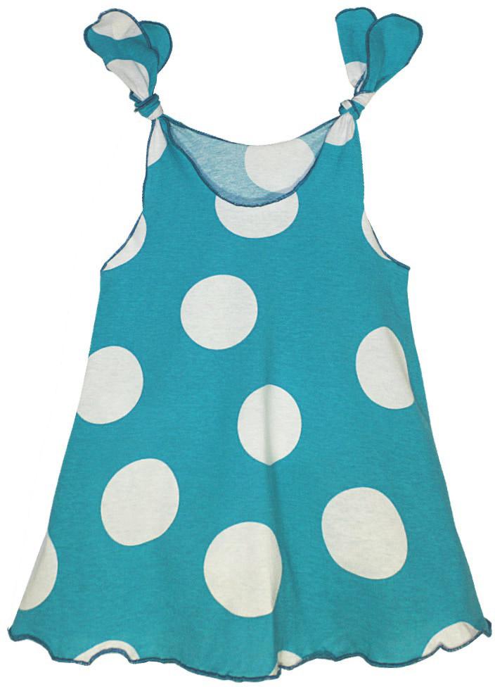Платье для девочки КотМарКот, цвет: бирюзовый, белый. 21417. Размер 12221417Платье для девочки КотМарКот выполнено из качественного материала. Модель на бретельках оформлена принтом в горох.