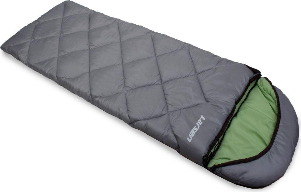 Спальный мешок Larsen RS 350R-2, левосторонняя молния + дополнительный замок, цвет: серый, зеленый, 180 х 40 х 75 см336097Спальный мешок Larsen RS 350R-2 необходимая вещь в походах. Внутренний материал: полиэстер SILK TOUCH.Прочный чехол: оксфорд 150D PU1000 Размеры: 180 х 40 х 75 см Вес: 1,80 кг Внешний материал: полиэстер 70D/190T W/R CIRE Наполнитель: холлофайбер, 350 г/кв. мКонструкция: одеяло + капюшон Максимальная температура: + 5°С Температура комфорта: 0°С Экстремальная температура: - 5°С