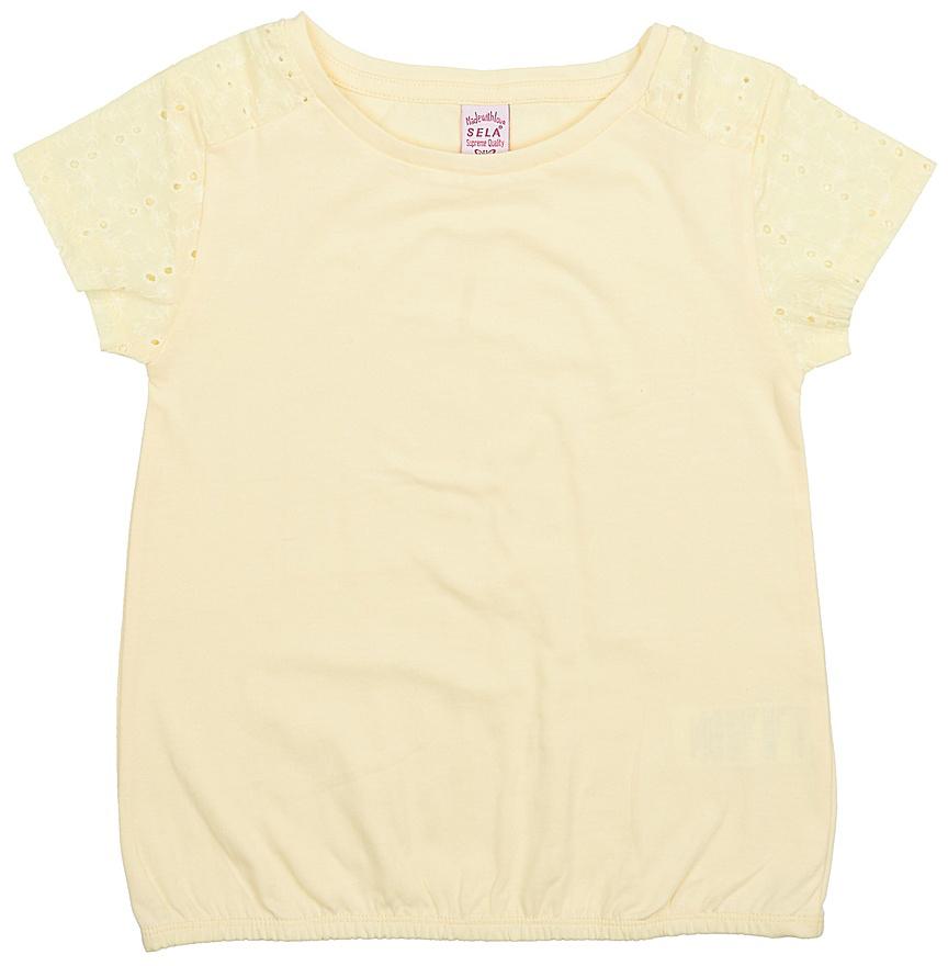 Футболка для девочки Sela, цвет: светло-желтый. Ts-611/982-7224. Размер 122, 7 летTs-611/982-7224Стильная футболка для девочки Sela выполнена из натурального хлопка. Модель прямого кроя с круглым вырезом горловины и короткими рукавами-реглан, оформленными вышивкой и перфорацией, подойдет для прогулок и дружеских встреч и будет отлично сочетаться с джинсами и брюками, а также гармонично смотреться с юбками. Низ изделия собран на резинку.