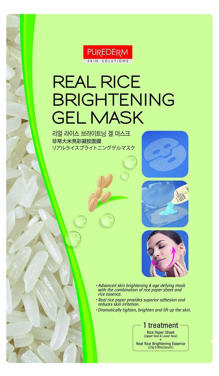 Purederm Рисовая гелевая маска для сияния кожи 2 в 1 1 шт + Рисовая сыворотка, 23 г587802Основа маски сделана из настоящей рисовой бумаги, наилучшим образом уменьшает раздражение кожи и помогает порам практически полностью впитать ценные компоненты сыворотки, которой пропитывается основа маски. Основа маски- экологически чистая рисовая бумага поможет избежать раздражения кожи, чувствительной к синтетическим материалам. Пропитанная сывороткой рисовая бумага идеально облегает лицо, обладает высокой эластичностью, оказывает эффективное лифтинговое действие, после применения оставляет кожу нежной и подтянутой. Активные ингредиенты: ферментированный рисовый экстракт, мультизерновой комплекс (коричневый рис, ячмень, мак и экстракт гречихи), Бобовый комплекс (черные бобы, черный кунжут, экстракт черного риса). Основной компонент маски- рис- содержит большое количество витаминов и минералов, Витамин Е. Большая концентрация гамма оризанола, содержащаяся в зародышах риса, активирует клетки кожи и приостанавливает процессы старения кожи, помогая ей долгое время выглядеть молодой и здоровой. В комплект для приготовления маски входит: рисовая бумага по форме маски для лица, специальный пластиковый контейнер и сыворотка для пропитки маски.