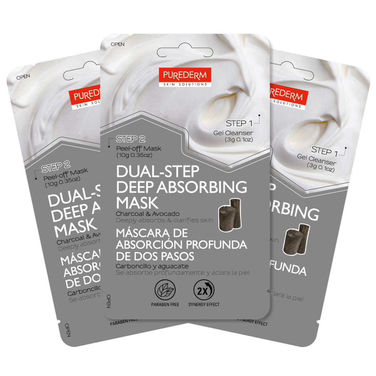 Purederm Набор Двойной уход: Очищающий гель, 3 г + Маска-пленка с углем и авокадо, 10 г увлажняющая маска purederm огурец 10 мл