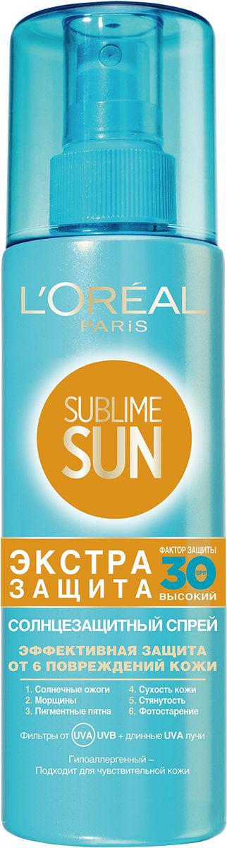 LOreal Paris Sublime Sun Спрей для тела Экстра защита, солнцезащитный, SPF 30, 200млA8280100Солнцезащитный спрей Экстра Защита обеспечивает защиту на клеточном уровне от 6 повреждений кожи. Система фильтров Mexoryl SX + фильтры с защитой от длинных UVA-лучей, которые проникают глубоко в кожу и могут вызвать серьезные повреждения, незаметные на первый взгляд. Формула, обогащенная антиоксидантами, нейтрализующими свободные радикалы, для защиты ващей кожи на клеточном уровне. Защищает от 6 повреждений кожи: солнечных ожогов, морщин, пигментных пятен, сухости кожи, стянутости, фотостарения. Защищенная, Ваша кожа приобретает ровный и красивый загар. Не оставляет белых следов и жирной липкой пленки.