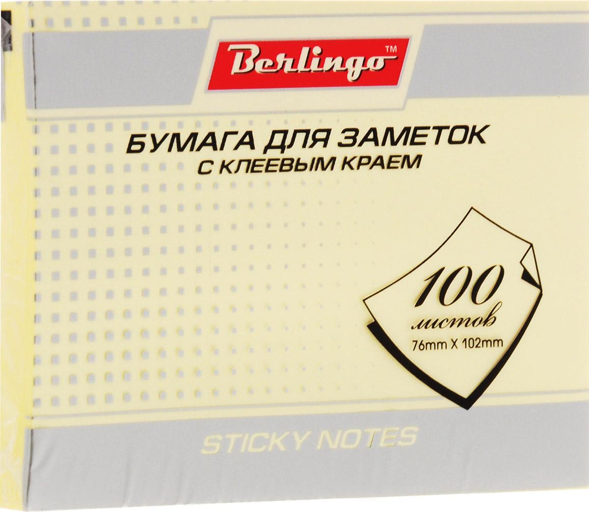 Berlingo Бумага для заметок цвет желтый 100 листовHN76102GeСамоклеящаяся бумага для заметок Berlingo оснащена нежным желтым цветом.Изготовлена бумага с использованием качественного клеевого состава и специальной основы. Листки при отрывании не закручиваются, а качество письма остается одинаковым по всей площади листка.Такая бумага отлично подходит для крепления на любой поверхности. Легко отклеивается, не оставляя следов.