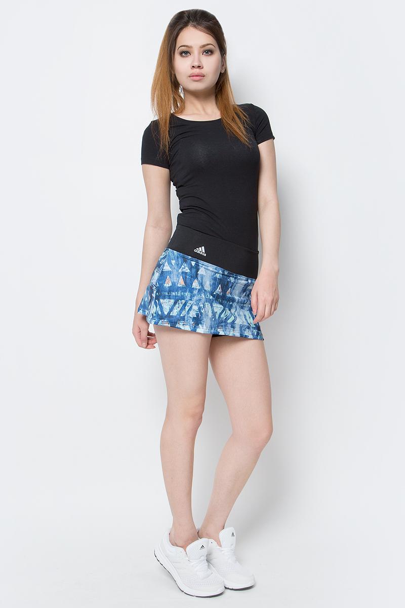 Юбка для тенниса adidas Essex Tr Skirt, цвет: черный, мульти. B45804. Размер S (42/44)B45804Юбка для тенниса adidas Essex Tr Skirt исполнена из ткани с технологией climalite, идеальное влагоотведение.