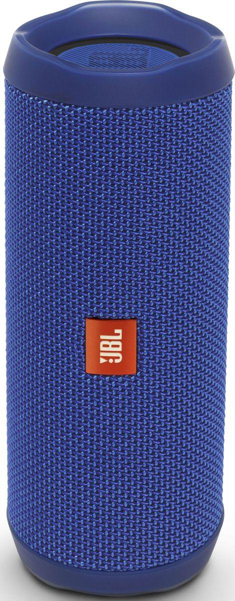 JBL Flip 4, Blue портативная акустическая системаJBLFLIP4BLUВ этой компактной акустической системе используется литий-ионный аккумулятор емкостью 3000 мА*ч, что позволяет 12 часов наслаждатьсякачественным звучанием. Акустическая система Flip 4 покрыта прочной водостойкой тканью. Она станет универсальным компаньоном для любойпогоды и вечеринки. Система оснащена встроенным спикерфоном с технологией эхокомпенсации и шумоподавления для высококачественнойконференц-связи, а также использует технологию JBL Connect+, которая позволяет объединять более 100 акустических систем с поддержкой JBLConnect+ по беспроводной сети для еще более мощного звука. Используя JBL Flip 4, вы можете одним нажатием кнопки обратиться к голосовымпомощникам Siri или Google Now.