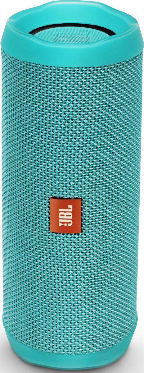 JBL Flip 4, Teal портативная акустическая системаJBLFLIP4TELВ этой компактной акустической системе используется литий-ионный аккумулятор емкостью 3000 мА*ч, что позволяет 12 часов наслаждатьсякачественным звучанием. Акустическая система Flip 4 покрыта прочной водостойкой тканью. Она станет универсальным компаньоном для любойпогоды и вечеринки. Система оснащена встроенным спикерфоном с технологией эхокомпенсации и шумоподавления для высококачественнойконференц-связи, а также использует технологию JBL Connect+, которая позволяет объединять более 100 акустических систем с поддержкой JBLConnect+ по беспроводной сети для еще более мощного звука. Используя JBL Flip 4, вы можете одним нажатием кнопки обратиться к голосовымпомощникам Siri или Google Now.