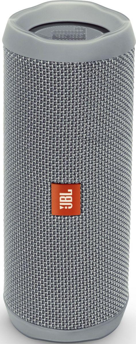 JBL Flip 4, Gray портативная акустическая системаJBLFLIP4GRYВ этой компактной акустической системе используется литий-ионный аккумулятор емкостью 3000 мА*ч, что позволяет 12 часов наслаждатьсякачественным звучанием. Акустическая система Flip 4 покрыта прочной водостойкой тканью. Она станет универсальным компаньоном для любойпогоды и вечеринки. Система оснащена встроенным спикерфоном с технологией эхокомпенсации и шумоподавления для высококачественнойконференц-связи, а также использует технологию JBL Connect+, которая позволяет объединять более 100 акустических систем с поддержкой JBLConnect+ по беспроводной сети для еще более мощного звука. Используя JBL Flip 4, вы можете одним нажатием кнопки обратиться к голосовымпомощникам Siri или Google Now.