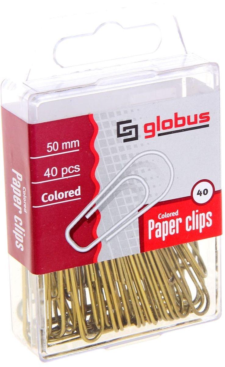 Globus Скрепки омедненные 50 мм 40 шт1078739Скрепки нужны в любом офисе, доме и школе.Скрепки Globus удовлетворят запросы самых взыскательных потребителей. Продукция отвечает международным стандартам, изготовлена на высокотехнологичном оборудовании с использованием современных материалов, гарантирующих высокое качество.