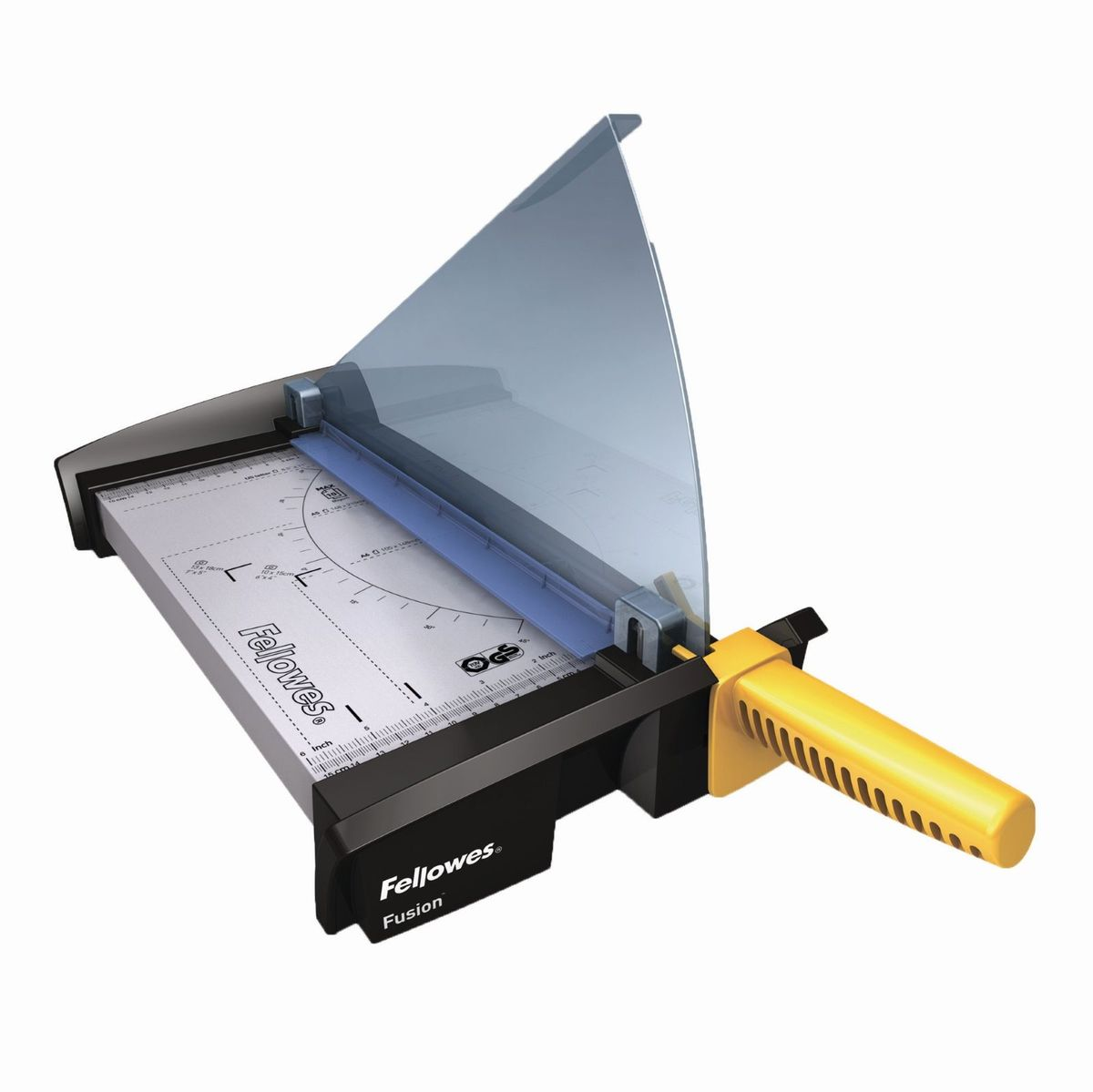 Fellowes Резак для бумаги1097641Резак сабельный SafeCut Fusion A4 идеален для частого использования дома или в малом офисе. Длина реза 320мм, стопа 1мм (10 листов 80гр/м2). Запатентованный SafeCut™ защитный экран предотвращает вероятность прикосновения пользователя к ножу резака во время работы. Защитный экран уже установлен, перед использованием его необходимо развернуть, что снимает проблему его неправильной установки. Без развернутого защитного экрана, резак не работает. Качественные лезвия из нержавеющей стали. Прочное металлическое основание на нескользящих ножках.Максимальное количество разрезаемых листов (80гр/кв.м): 10Предназначение: Пленка, фотографии, бумага
