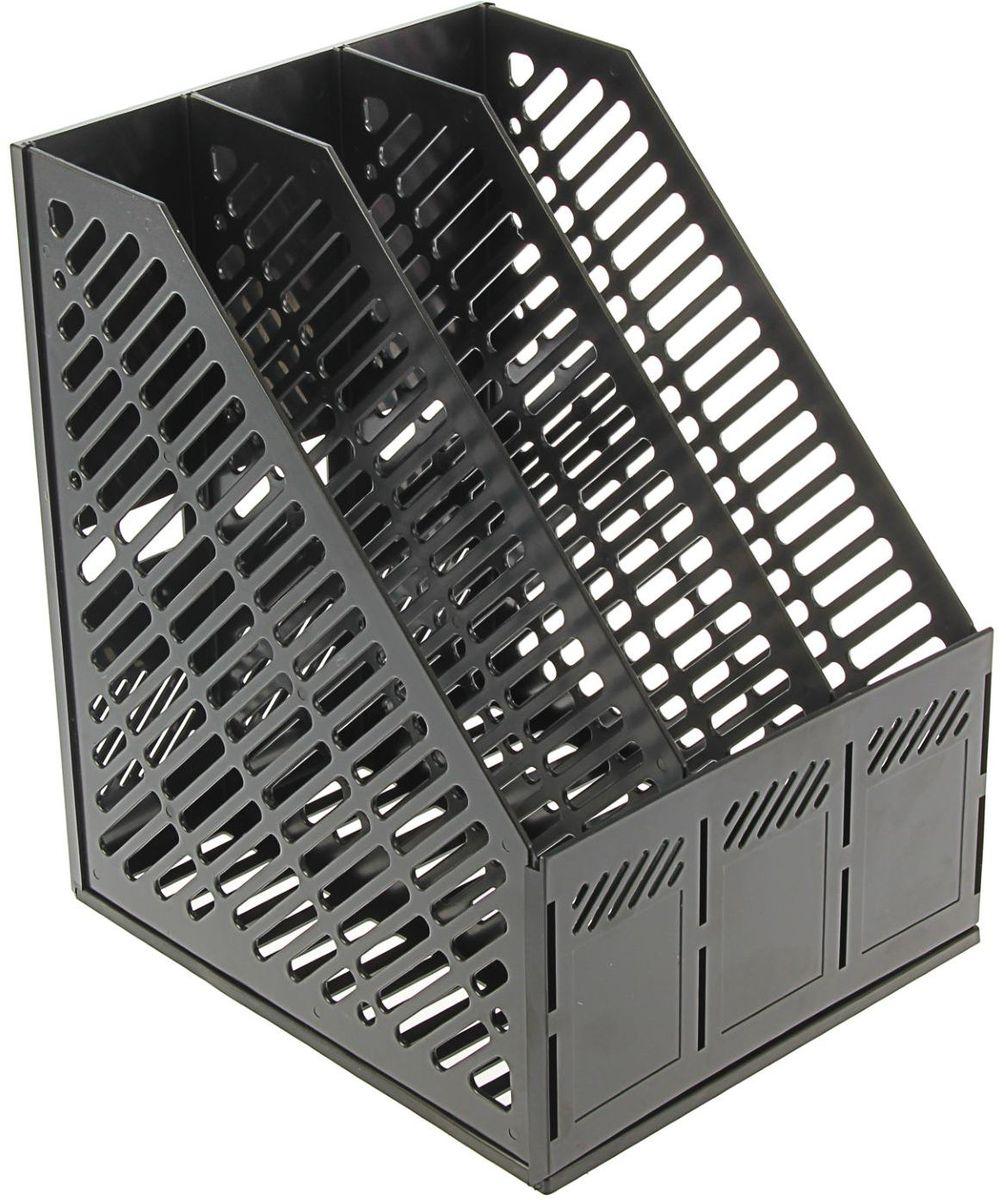 Erich Krause Лоток для бумаг вертикальный сборный 3 отделения цвет черный1365480