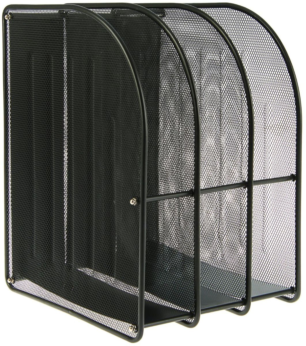NoName Лоток для бумаг вертикальный 3 отделения цвет черный -  Лотки, подставки для бумаг