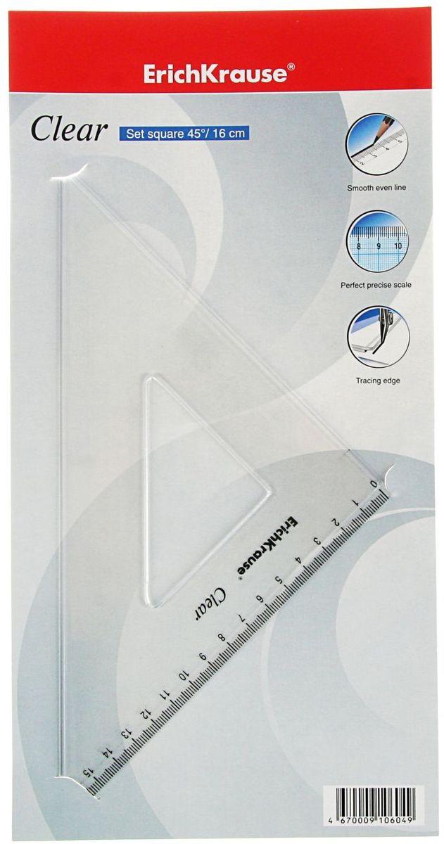 Erich Krause Угольник Clear 45 градусов 16 см2188252Угольник Erich Krause Clear изготовлен из прозрачного пластика. Имеет одностороннюю шкалу, длина шкалы - 160 мм.