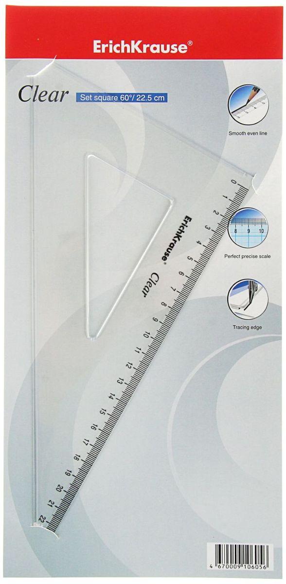 Erich Krause Угольник Clear 60 градусов 225 мм2188253Угольник Erich Krause Clear изготовлен из прозрачного пластика. Имеет одностороннюю шкалу, длина шкалы - 22,5 см.