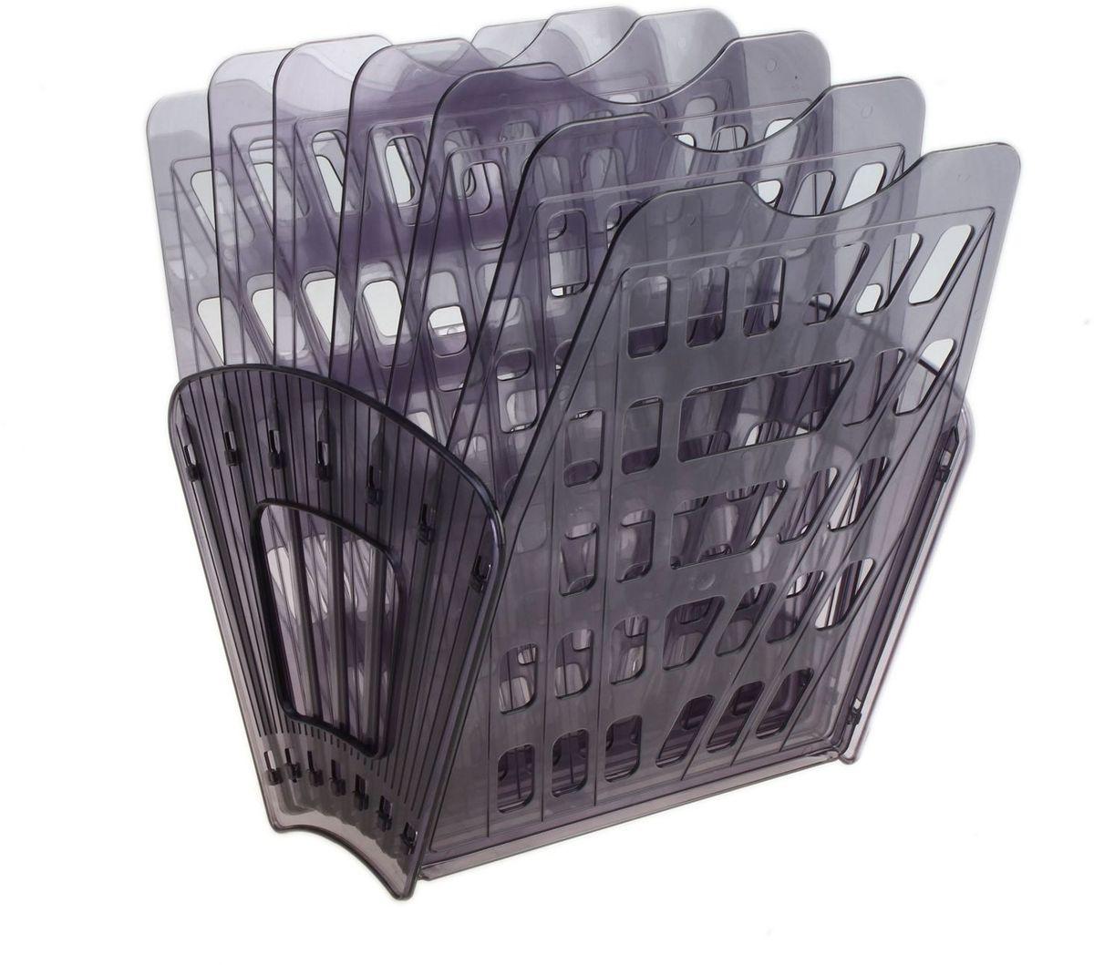 Стамм Лоток для бумаг 7 отделений цвет серый609189Лоток для бумаг Стамм выполнен из высококачественного пластика с полированной гладкой поверхностью.Лоток состоит из двух боковых стоек и семи секций, на рабочем столе устанавливается как горизонтально, так и вертикально, имеет специальные отверстия для крепления на стену. Легко собирается и разбирается, имеет четыре отделения для листов формата А4.С лотком для бумаг Стамм у вас больше не возникнут сложности с поддержанием порядка на столе!