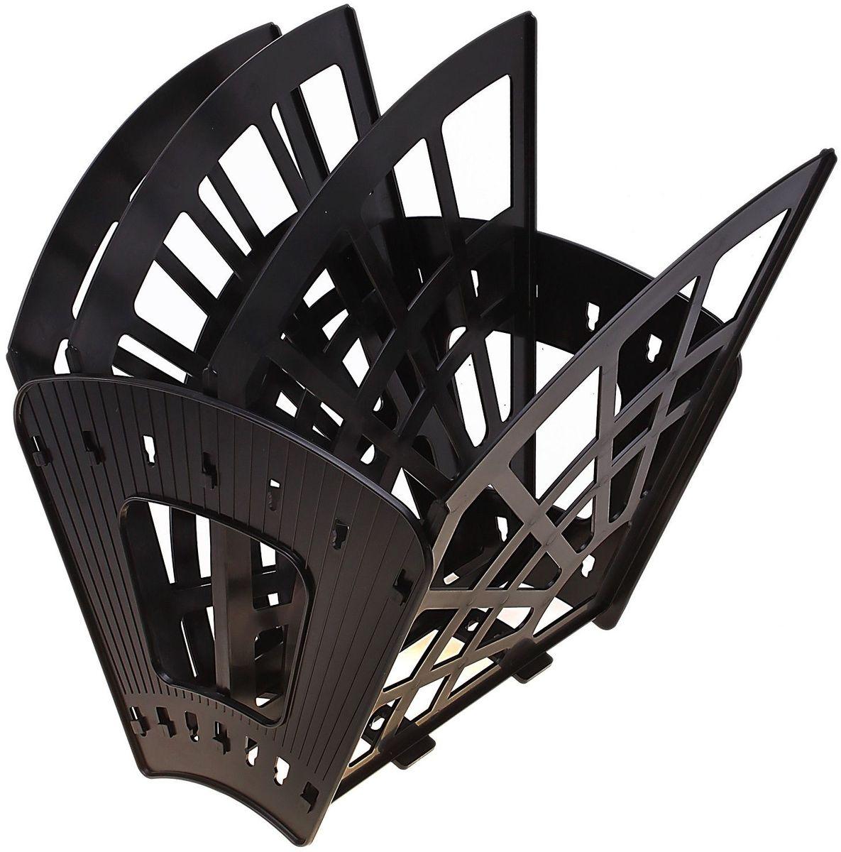 Стамм Лоток для бумаг Эконом 4 отделения цвет черный -  Лотки, подставки для бумаг