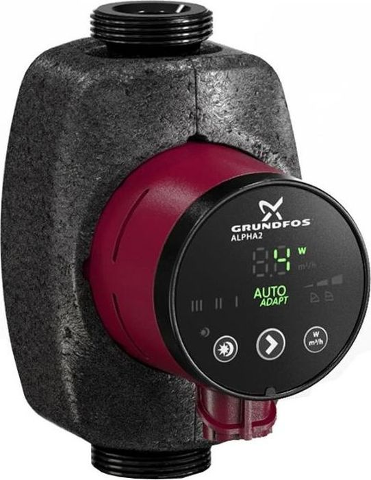 Насос электрический Grundfos Alpha2 25-40, для чистой воды, 18 Вт, 2,4 м3/ч98257789Насос с ротором и двухполюсным синхронным двигателемGrundfos Alpha2 25-40 предназначен для обеспеченияциркуляции теплоносителя в системах отопления. Корпус агрегата выполнен из чугуна. Рабочее колесоизготовлено из синтетического материала, обладающеговысокой антикоррозионной устойчивостью. Ротор изолированот статора защитной герметичной гильзой, поэтому насосвместе с электродвигателем образуют единый узел безуплотнений вала. В узле используются две уплотнительныепрокладки. Радиальные керамические подшипникисмазываются перекачиваемой жидкостью. Электродвигатель имеет встроенную тепловую защиту.Отличительные особенности: - встроенная автоматическая регулировка; - 3-позиционный переключатель скорости; - частотный преобразователь; - функция ночного режима работы; - деблокировка вала насоса; - индикатор текущего энергопотребления; - широкий спектр применения; - длительный срок службы. Насос Grundfos Alpha2 25-40 оснащен частотнымпреобразователем, автоматически регулирующимпотребляемую мощность в процессе изменения параметровгидросистемы отопления. Циркуляционный насоспропорционально изменяет давление в системе илиподдерживает его на постоянном уровне. В ответ науменьшение теплопотребления, давление в системеотопления также снижается. При уменьшении подачи насосадавление в системе перед вентилем падает, что устраняетпричину возникновения шума. При выполнении монтажных работ насос устанавливается втаком положении, чтобы вал электродвигателя былрасположен горизонтально. Циркуляционный насос Grundfos Alpha2 25-40 используется воднотрубных и двухтрубных системах отопления, а также всмесительных контурах крупных систем. Кинематическая вязкость воды - не более 1 мм2/с (1сСт) при+20°С.Температура перекачиваемой жидкости - от +2°С до +110°С.Мощность (1,2,3 скорость): 6-25 Вт. Монтажная длина: 180 мм. Номинальное напряжение: 1 x 230 В. Максимальное рабочее давление:10 бар. Присоединение: G 1 1/2. На