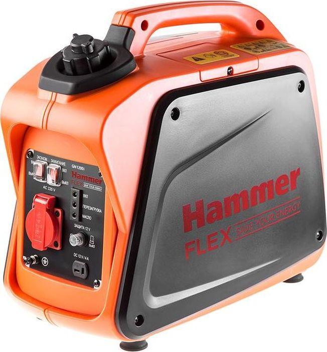 """Бензоэлектростанция Hammer """"Flex GN1200i"""" - портативный агрегат, который идеально подходит  для использования на отдыхе, рыбалке, пикниках, но особенно удобен в качестве источника  питания при выполнении садовых и прочих строительно-ремонтных работ, когда нет  непосредственного доступа к электросети. Характеристики: - мощность активная 1,2 кВт, - двигатель четырехтактный, - напряжение 220 В, - выходной ток 4,3 А, - рабочий объем 60 см3, - бак 3 л, - время работы 4,8 ч, - вес 13 кг, - тип генератора - бензиновый, - назначение генератора - резервный, - бак для масла 0,35 л, - тип стартера - ручной, - тип топлива - бензин,"""