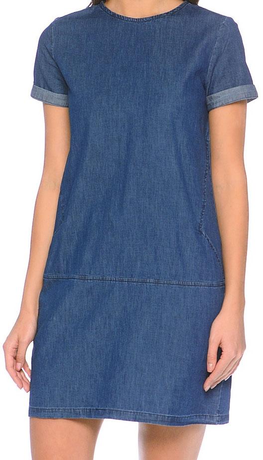 Платье Sela, цвет: темно-синий джинс. Djs-137/011-7161. Размер 42Djs-137/011-7161Лаконичное джинсовое платье Sela выполнено из натурального хлопка и дополнено двумя прорезными карманами. Модель прямого кроя с круглым вырезом горловины застегивается на короткую металлическую молнию на спинке. Мягкая ткань комфортна и приятна на ощупь. Платье подойдет для прогулок и дружеских встреч и станет отличным дополнением гардероба.