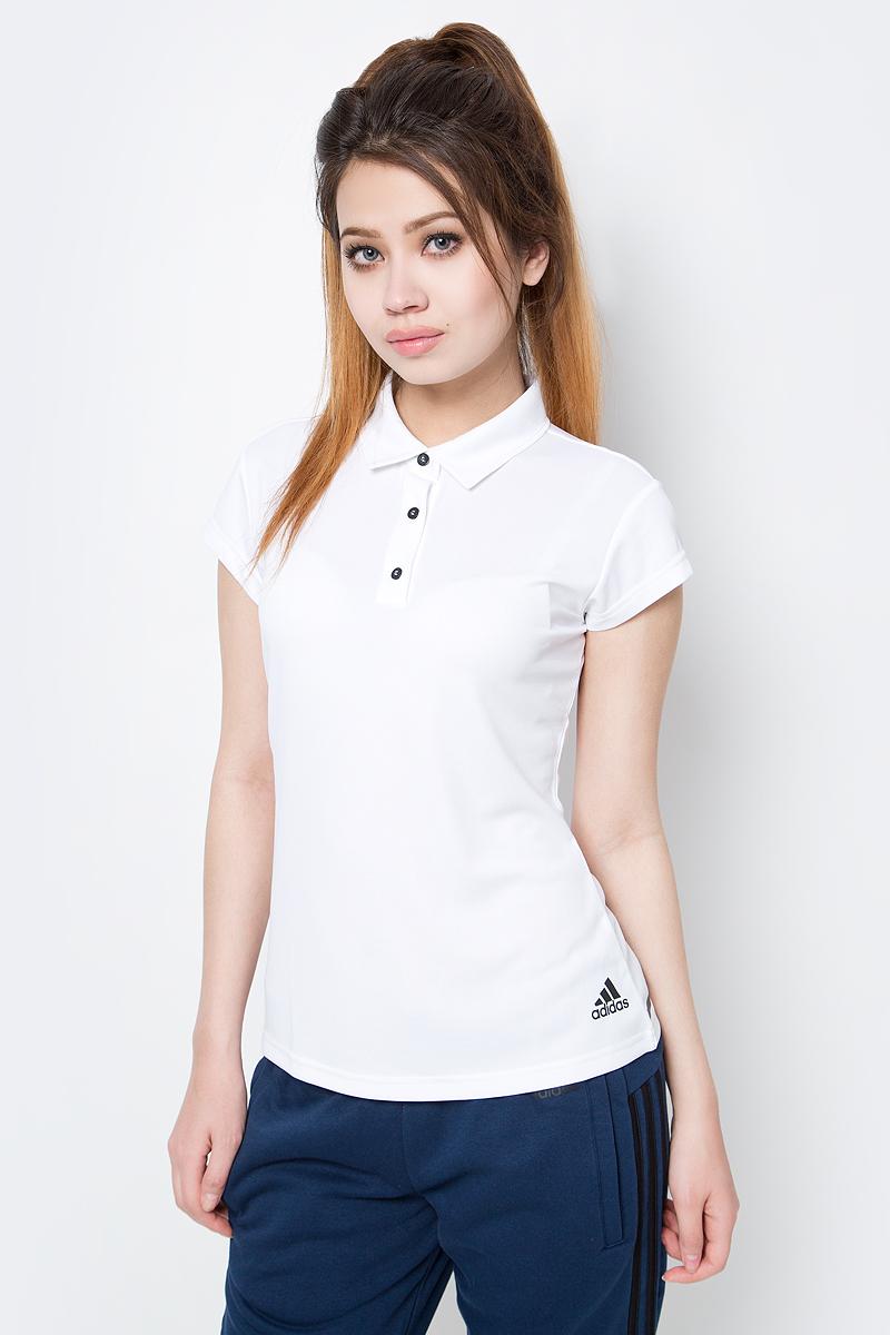 Поло женское Adidas, цвет: белый. BJ9564. Размер L (48/50)BJ9564Женское поло Adidas с технологией climachill которая сохранит прохладу даже при самых интенсивных нагрузках.