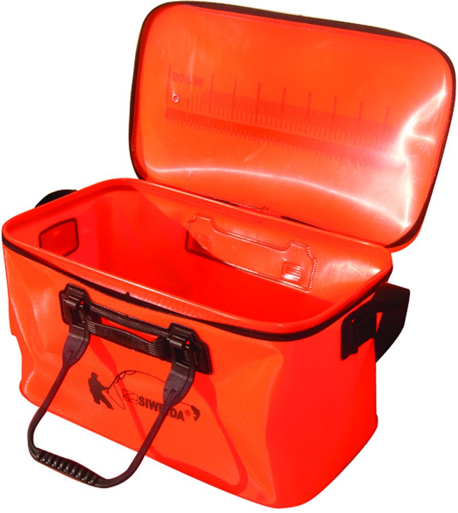 Сумка рыболовная SWD, цвет: оранжевый, 50 х 25 х 30 см43450Универсальная рыболовная сумка SWD изготовлена из полиэтилена и пластика. Ее можно складывать ее при перевозке, что очень удобно. Сумка имеет ручки с возможностью фиксации, ремень на плечо и верх, застегивающийся на молнию. Подходит для замешивания прикормки, перевозке живой рыбы. Размер: 50 х 25 х 30 см.
