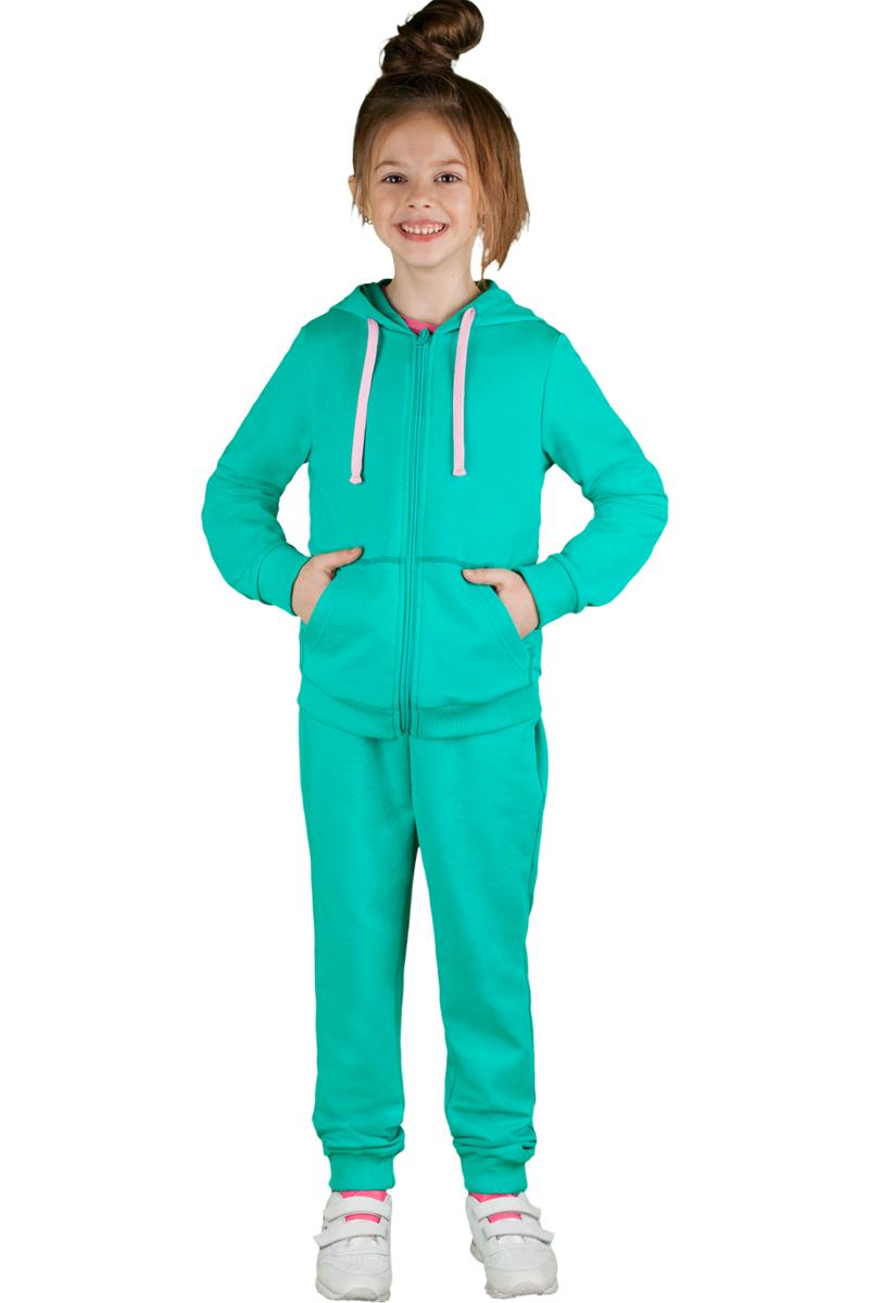 Спортивный костюм для девочки Boom!, цвет: зеленый. 70805_BLG_вар.2. Размер 98/104, 3-4 года70805_BLG_вар.2Спортивный костюм для девочки Boom! выполнен из хлопка с добавлением полиэстера и лайкры. Костюм состоит из брюк и толстовки на молнии. Толстовка имеет длинные рукава, капюшон со шнурком для регулировки объема и два кармана. Брюки снабжены резинкой на талии и боковыми карманами. Удобный и практичный спортивный костюм отлично подходит для занятий физкультурой и прогулок на свежем воздухе.