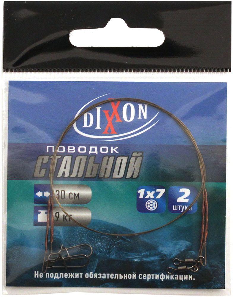 Поводок рыболовный Dixxon, стальной, 1х7, длина 30 см, 9 кг, 2 шт59704Поводок рыболовный Dixxon плетения 1x7 изготовлен из качественной легированной стали. Поводок оснащен высококачественной вертлюгой (для соединения с основной леской) и вертлюгой с застежкой (для крепления приманки). Наличие двух вертлюгов значительно уменьшает закручивание лески.В упаковке 2 поводка.Длина поводка: 30 см.Тест: 9 кг.Диаметр поводка: 0,36 мм.