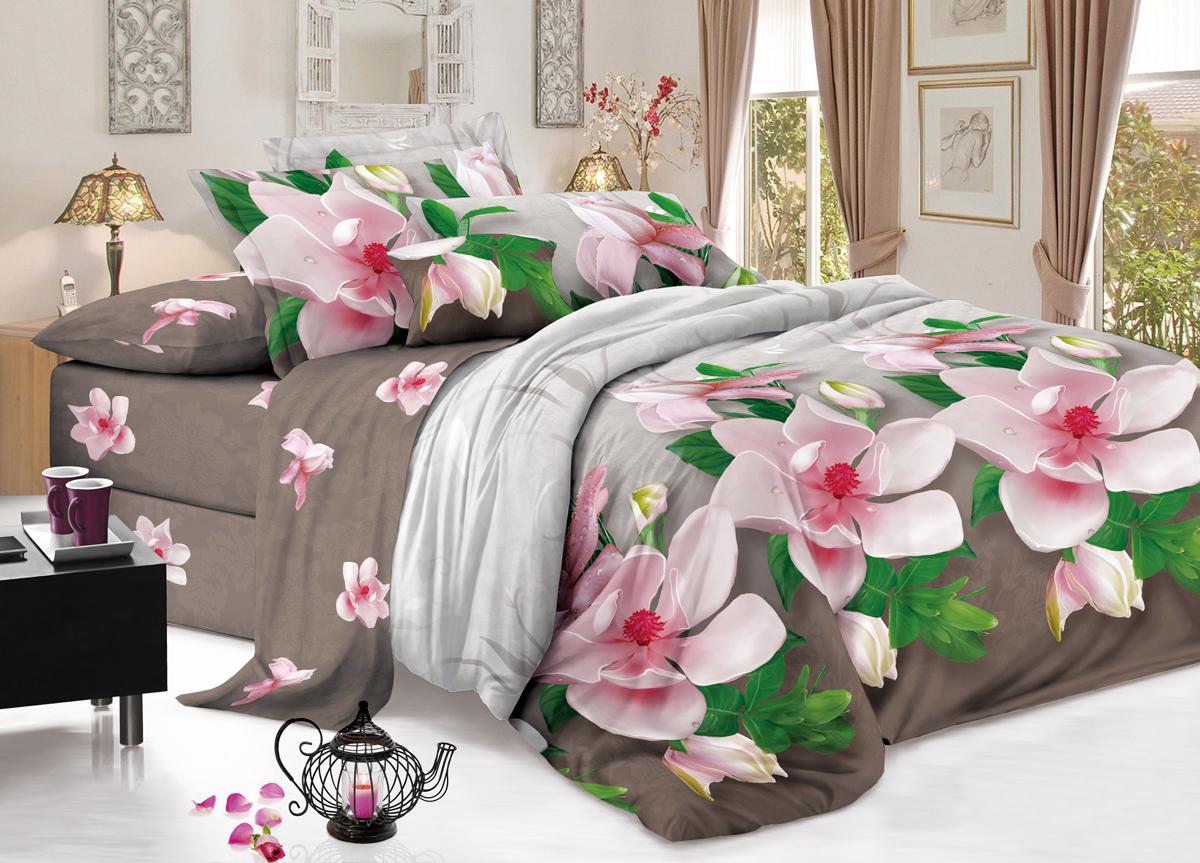 Комплект белья Flora Волшебница, 1,5-спальный, наволочки 70х70, цвет: серыйФл_Волшебница_1,5спКомплект постельного белья Flora производится из полисатина (100% п/э). Ткань имеет шелковистую поверхность и приятный блеск, она мягкая и очень приятная на ощупь. К достоинствам также можно отнести долговечность, ткань не линяет, сохраняет яркость красок даже после многочисленных стирок, не садится. Проста в использовании: легко стирается и быстро сохнет.Комплектация: простыня 145 х 214 - 1 шт., пододеяльник 143 х 215 - 1 шт., наволочка 70 х 70 - 2 шт.
