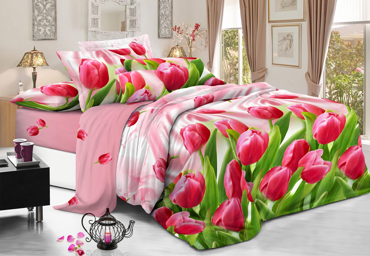 Комплект белья Flora Любимые тюльпаны, 1,5-спальный, наволочки 70х70, цвет: розовыйФл_Любимые_1,5спКомплект постельного белья Flora производится из полисатина (100% п/э). Ткань имеет шелковистую поверхность и приятный блеск, она мягкая и очень приятная на ощупь. К достоинствам также можно отнести долговечность, ткань не линяет, сохраняет яркость красок даже после многочисленных стирок, не садится. Проста в использовании: легко стирается и быстро сохнет.Комплектация: простыня 145 х 214 - 1 шт., пододеяльник 143 х 215 - 1 шт., наволочка 70 х 70 - 2 шт.