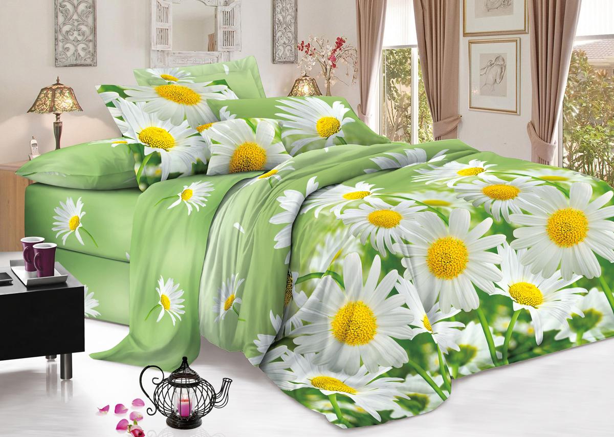 Комплект белья Flora Любит - не любит, 1,5-спальный, наволочки 70х70, цвет: белый, зеленыйФл_Любит_1,5спКомплект постельного белья Flora производится из полисатина (100% п/э). Ткань имеет шелковистую поверхность и приятный блеск, она мягкая и очень приятная на ощупь. К достоинствам также можно отнести долговечность, ткань не линяет, сохраняет яркость красок даже после многочисленных стирок, не садится. Проста в использовании: легко стирается и быстро сохнет.Комплектация: простыня 145 х 214 - 1 шт., пододеяльник 143 х 215 - 1 шт., наволочка 70 х 70 - 2 шт.