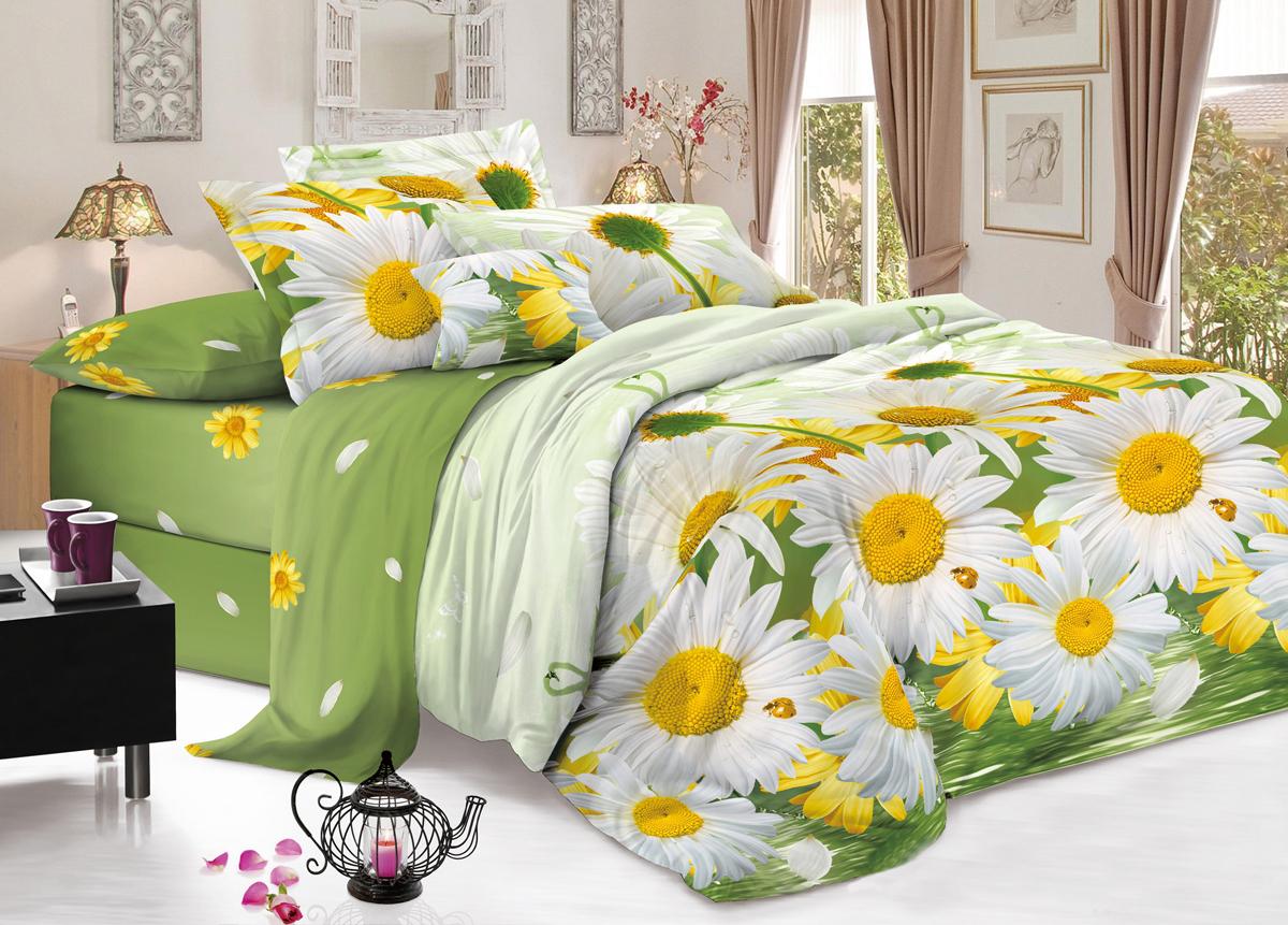 Комплект белья Flora Солнечное настроение, 1,5-спальный, наволочки 70х70, цвет: желтый, зеленыйФл_Солнечное_1,5спКомплект постельного белья Flora производится из полисатина (100% п/э). Ткань имеет шелковистую поверхность и приятный блеск, она мягкая и очень приятная на ощупь. К достоинствам также можно отнести долговечность, ткань не линяет, сохраняет яркость красок даже после многочисленных стирок, не садится. Проста в использовании: легко стирается и быстро сохнет.Комплектация: простыня 145 х 214 - 1 шт., пододеяльник 143 х 215 - 1 шт., наволочка 70 х 70 - 2 шт.