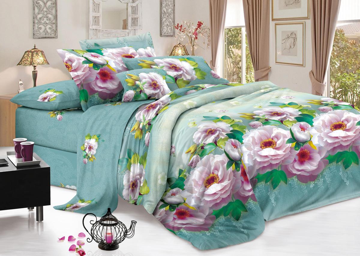 Комплект белья Flora Зефир, 2-спальный, наволочки 70х70, цвет: сиреневый, бирюзовыйФл_Зефир_2спКомплект постельного белья Flora производится из полисатина (100% п/э). Ткань имеет шелковистую поверхность и приятный блеск, она мягкая и очень приятная на ощупь. К достоинствам также можно отнести долговечность, ткань не линяет, сохраняет яркость красок даже после многочисленных стирок, не садится. Проста в использовании: легко стирается и быстро сохнет.Комплектация: простыня 200 х 220 - 1 шт., пододеяльник 175 х 215 - 1 шт., наволочка 70 х 70 - 2 шт.