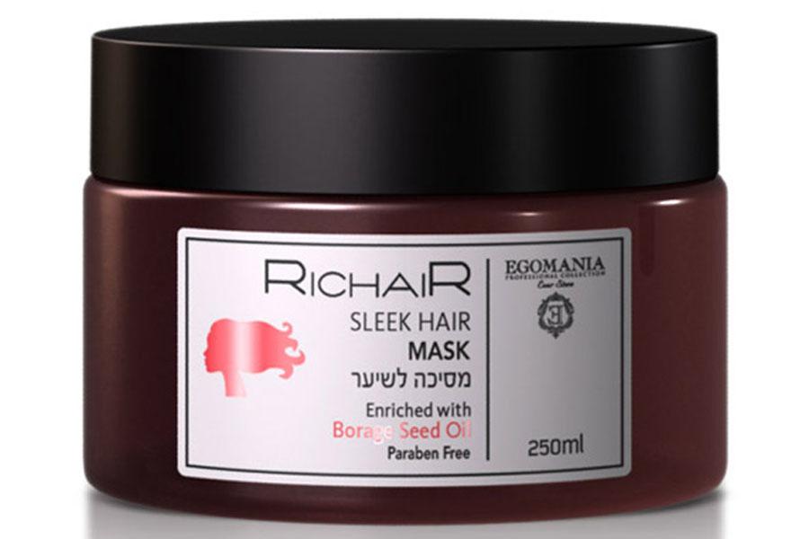 Egomania Professional Collection Маска Richair для гладкости и блеска волос, 250 мл182451Маска предназначена для интенсивного ухода и восстановления поврежденных, пористых, лишенных блеска волос. Благодаря содержанию масла огуречника лекарственного, интенсивно увлажняет волосы, придавая эластичность и упругость. Натуральные керамиды эффективно восстанавливают поверхность поврежденных и пористых волос. Натуральный гидролизованный кератин и морской коллаген придает волосам гладкость и блеск, защищает волосы от термического повреждения в момент укладки и негативных внешних факторов.