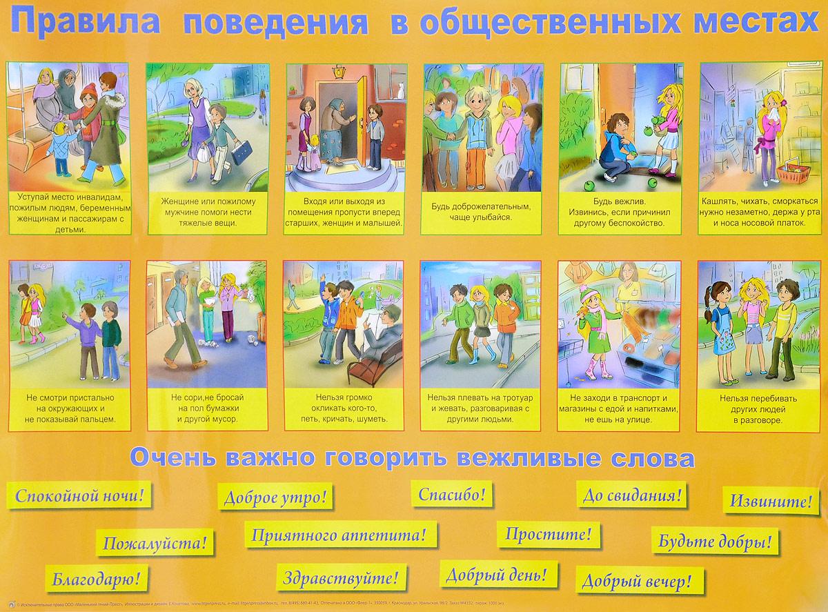 Правила поведения в общественных местах. Плакат тамара скиба правила поведения для детей