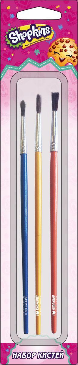 Shopkins Набор кистей из волоса пони Шопкинс 3 шт31772В набор ТМ Шопкинс входит 3 кисточки, которые помогут вашему ребенку рисовать и раскрашивать красивые картинки, развивая творческиеспособности, мелкую моторику и воображение. Выполненные из натурального волоса пони, кисти оптимально подходят для рисования акварельюи гуашью: они мягкие, хорошо впитывают краску и отлично держат форму. Кисти имеют удобную пластиковую ручку и безопасную алюминиевуюобойму. Размер кистей: 3 мм, 4 мм, 6 мм.