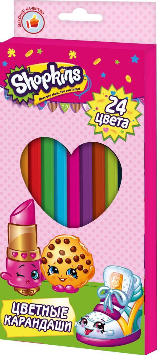 Shopkins Набор цветных карандашей Шопкинс 24 цвета шопкинс пазл 104 элементов яркие подружки shopkins