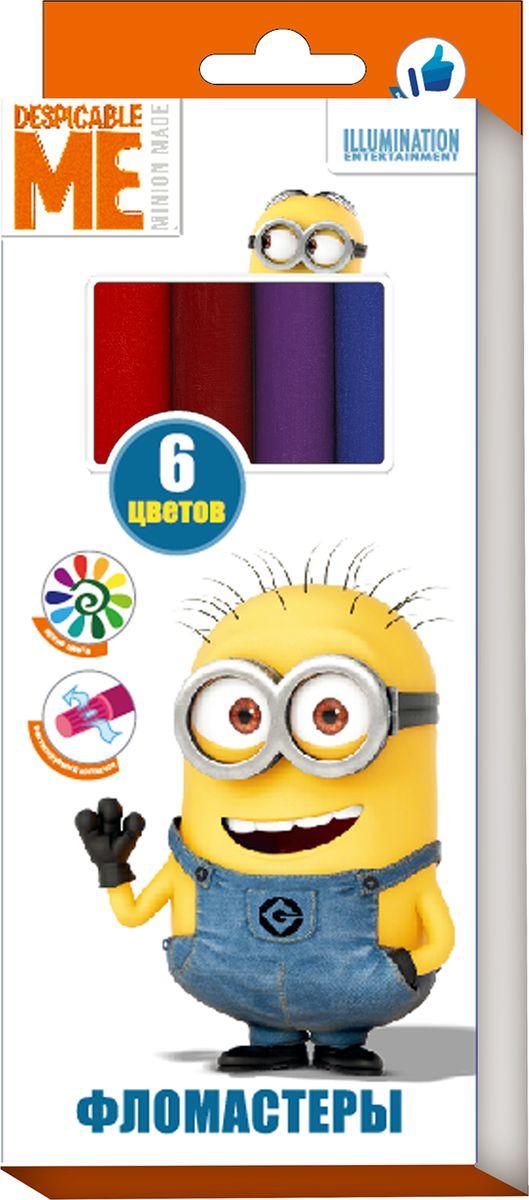 Universal Миньоны Набор фломастеров 6 цветов31922Фломастеры ТМ Гадкий Я, идеально подходящие для рисования и раскрашивания, помогут вашему ребенку создавать яркие картинки, аупаковка с любимыми героями будет долгое время радовать юного художника. В набор входит 6 разноцветных фломастеров с вентилируемымиколпачками, безопасными для детей.Диаметр корпуса: 0,8 см; длина: 13,5 см.Фломастеры изготовлены из материала,обеспечивающего прочность корпуса и препятствующего испарению чернил, благодаря этому они имеют гарантированно долгий срок службы:корпус не ломается, даже если согнуть фломастер пополам.Состав: ПВХ, пластик, чернила на водной основе.