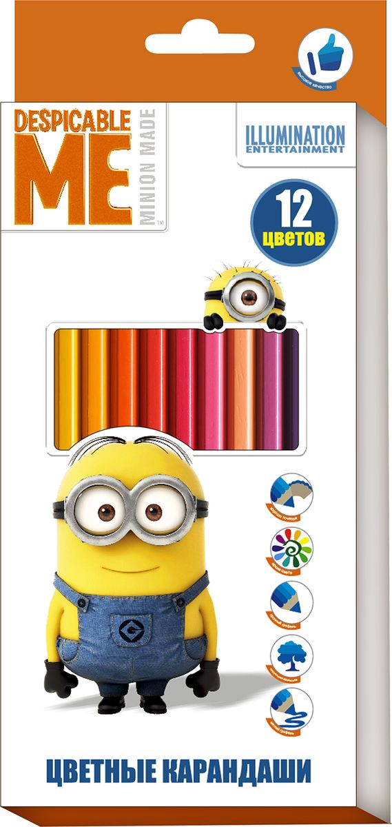 Universal Миньоны Набор цветных карандашей 12 цветов31929Яркие карандаши ТМ Гадкий Я помогут маленькому художнику создавать красивые картинки, а любимые герои вдохновят малыша на новые интересные идеи. В набор входит 12 цветных мягких и одновременно прочных карандашей, идеально подходящих для рисования, письма и раскрашивания. Яркие линии получаются без сильного нажима. Благодаря высококачественной древесине, карандаши легко затачиваются. Прочный грифель не крошится при падении и не ломается при заточке.Состав: древесина, цветной грифель.