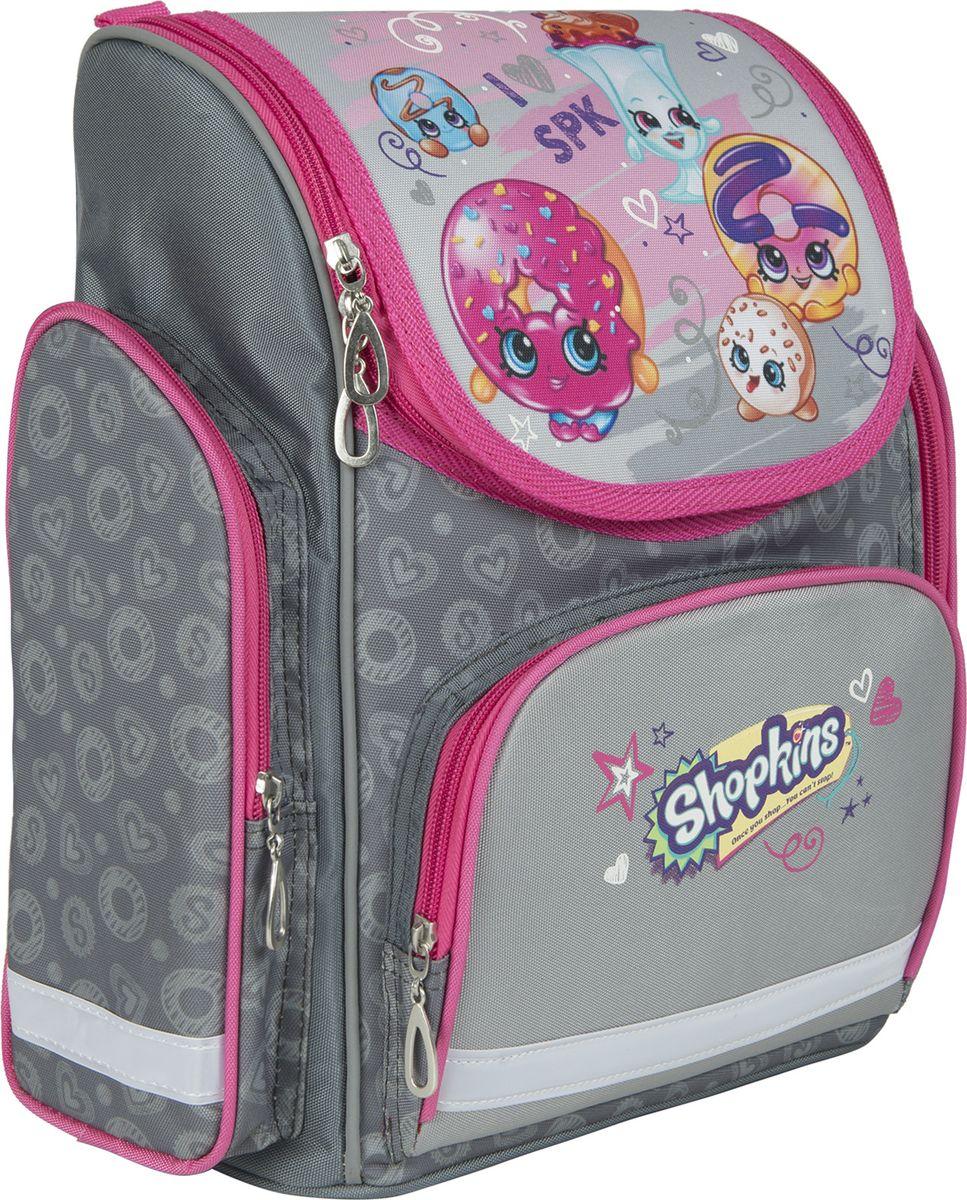 Shopkins Рюкзак Шопкинс цвет серый розовый 3242132421Ортопедический рюкзак Шопкинс с твердым корпусом оптимален для школы: он имеет легкий вес и компактный, удобный размер. Основное отделение закрывается на молнию, подходит для формата А4, имеет отсек для тетрадей и карабин для ключей. Спереди находится карман на молнии, вмещающий пенал, а по бокам - 2 кармана на молнии высотой 23,5 см. Удобная усиленная спинка из дышащего плотного и мягкого поролона равномерно распределяет нагрузку на позвоночник. Мягкие анатомические регулируемые лямки оберегают плечи ребенка от натирания. Светоотражающие элементы на лямках, лицевом и боковых карманах повышают видимость ребенка на дороге в темное время суток, повышая его безопасность. Прорезиненная ручка удобна для переноски рюкзака в руке или размещения на вешалке. Износостойкий, водонепроницаемый материал обеспечивает изделию длительный срок службы и защищает вещи от намокания. Аксессуар декорирован ярким и стойким принтом (сублимированной печатью и шелкографией). Порадуйте свою малышку таким замечательным подарком!