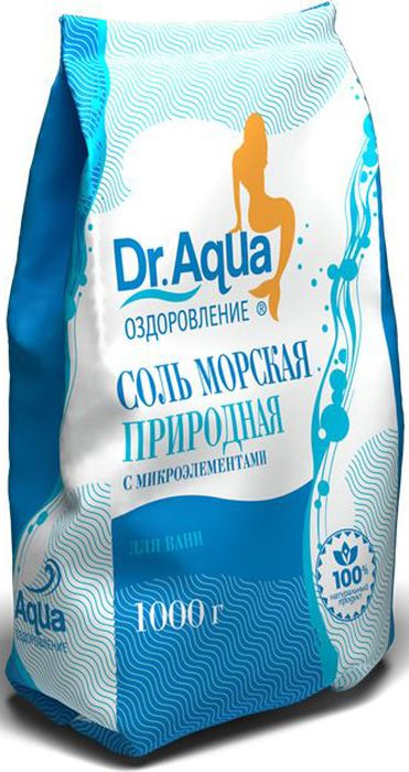 Dr. Aqua Соль морская природная, 1000 г1Соли для ванн серии Аква-Оздоровление эффективно восстановят организм после эмоциональных и физических нагрузок.Природная морская соль Верхнекамского месторождения является уникальным оздоравливающим средством: она идеально подходит для проведения SPA-процедур в домашних условиях. При растворении соли в воде образуются естественные взвесь и осадок — это целебная межкристаллическая глина, которая содержит в себе более 40 жизненно важных макро- и микроэлементов.Регулярный прием ванн с морской солью поддерживает процесс обновления клеток кожи, усиливает ее защитные функции, сохраняет молодость и здоровье.