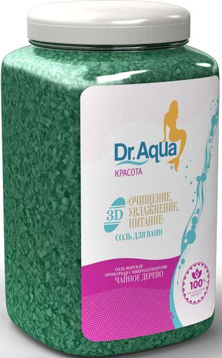Dr. Aqua Соль морская ароматная 3D. Очищение, увлажнение, питание, с экстрактом чайного дерева, 750 г54Соли для ванн серии Аква-Красота - сила природы для Вашей кожи!Морская соль с уникальным комплексом из природных натуральных растительных экстрактов и эфирных масел сделает вашу кожу прекрасной. Природные минералы соли активизируют обмен веществ в глубоких слоях кожи и ускоряют регенерацию клеток. Натуральные экстракты череды и полыни и эфирные масла бергамота и чайного дерева ОЧИЩАЮТ, УВЛАЖНЯЮТ и ПИТАЮТ клетки кожи.Морская соль Верхнекамского месторождения идеально подходит для проведения SPA - процедур в домашних условиях. При растворении соли в воде образуется естественный осадок – это целебная межкристаллическая глина, которая содержит в себе более 40 жизненно важных макро- и микроэлементов. Регулярный прием ванн с морской солью поддерживает процесс обновления клеток кожи, усиливает ее защитные функции, сохраняет молодость и здоровье.