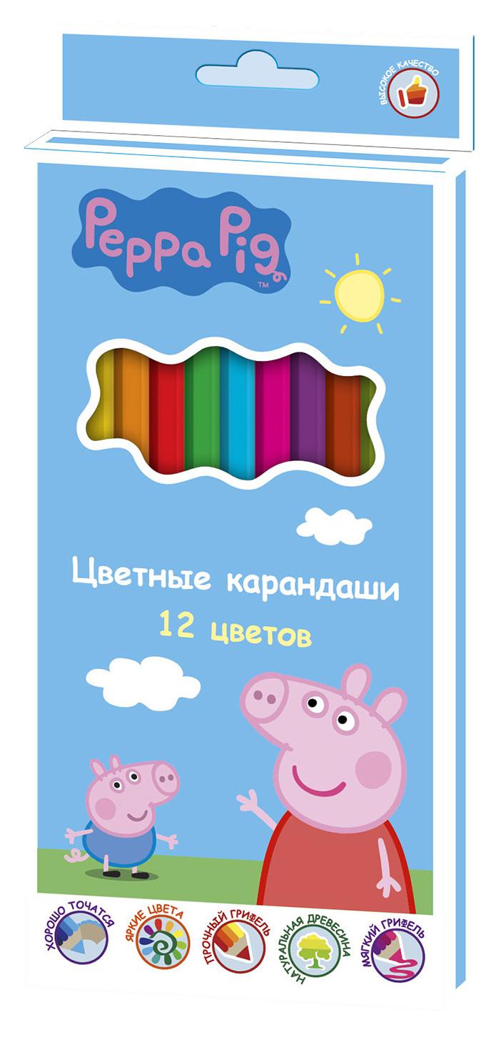 Peppa Pig Набор цветных карандашей Свинка Пеппа 12 цветов32060Яркие карандаши ТМ Свинка Пеппа помогут маленькому художнику создавать красивые картинки, а любимые герои вдохновят малыша нановые интересные идеи. В набор входит 12 цветных мягких и одновременно прочных карандашей, идеально подходящих для рисования, письма ираскрашивания. Яркие линии получаются без сильного нажима. Благодаря высококачественной древесине, карандаши легко затачиваются.Прочный грифель не крошится при падении и не ломается при заточке. Состав: древесина, цветной грифель.