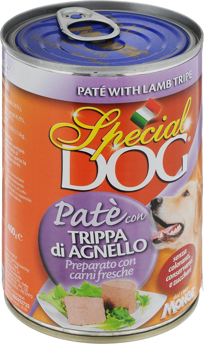 Консервы для собак Monge Special Dog, паштет с рубцом ягненка, 400 г консервы для собак titbit raf паштет с кроликом 100 г