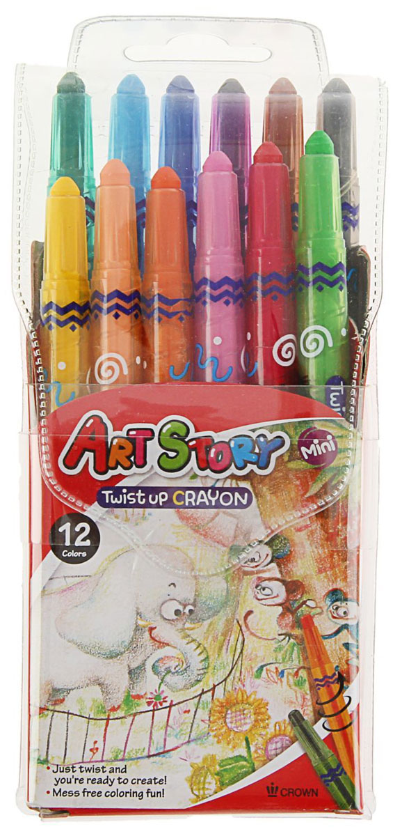Crown Карандаши восковые Мини 12 цветовTP-1200MPВосковые карандаши Crown отличаются необыкновенной яркостью и стойкостью цвета, легко смешиваются, создавая огромное количество оттенков. Не токсичны и абсолютно безопасны.Восковые карандаши откроют юным художникам новые горизонты для творчества, а также помогут отлично развить мелкую моторику рук, цветовое восприятие, фантазию и воображение.Карандаши не нуждаются в затачивании. Стержень выкручивающийся.